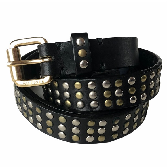 Tommy Hilfiger Leather Belt with Metal Studs